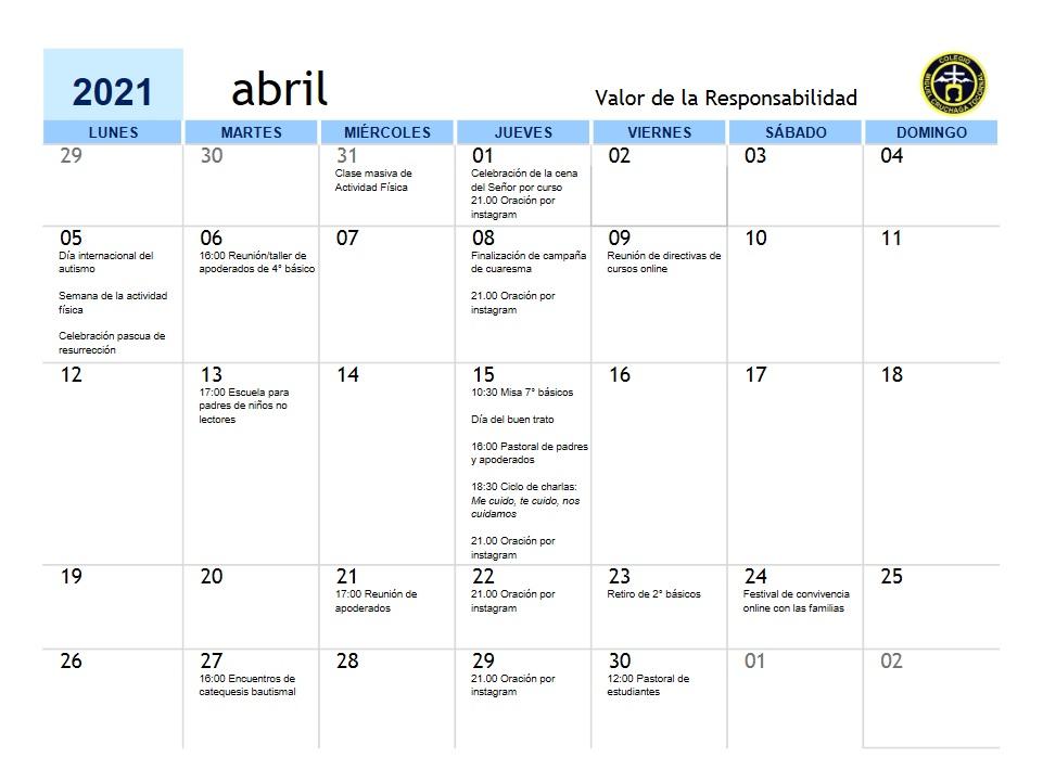 Calendario Abril 2021